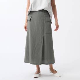 「L」リネン混カーゴスカート (カーキ)