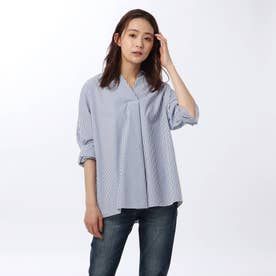 「L」エステネージュストライプスキッパーシャツ (ブルー)