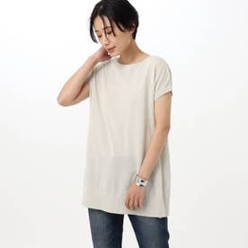 「L」【洗える】コットンリネンエステルニット (ライトグレー)
