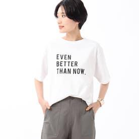 「L」【洗える】コットン(綿)ロゴTシャツ (ホワイト)