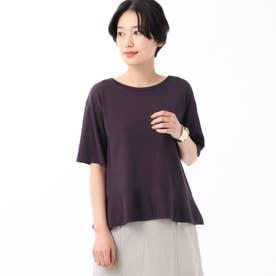 「L」【洗える】裾切り替えニットプルオーバー (パープル)