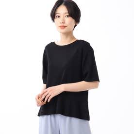 「L」【洗える】裾切り替えニットプルオーバー (ブラック)