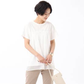 【WEB限定】異素材レイヤードプルオーバー (オフホワイト)