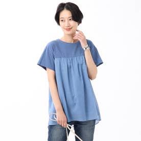 【WEB限定】異素材レイヤードプルオーバー (ブルー)
