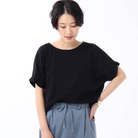 【WEB限定】バイオシルケットスムース 袖タックカットソー (ブラック)