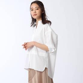 (153) 【洗える】ストライプ柄比翼シャツ (ホワイト)