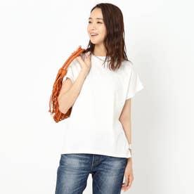 【洗える】コットン混フレンチスリーブTシャツ (オフホワイト)