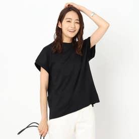【洗える】コットン混フレンチスリーブTシャツ (ブラック)
