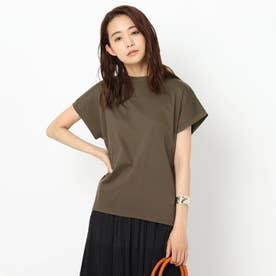 【洗える】コットン混フレンチスリーブTシャツ (ダークブラウン)