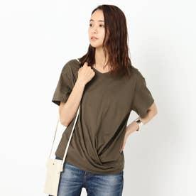 【洗える】裾ツイストTシャツ (ダークブラウン)