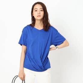 「L」【洗える】裾ツイストTシャツ (ブルー)