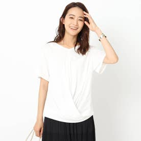 「L」【洗える】裾ツイストTシャツ (オフホワイト)