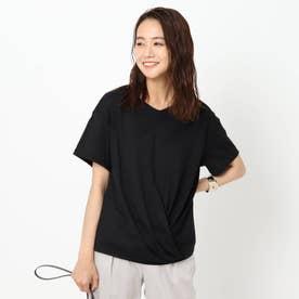 「L」【洗える】裾ツイストTシャツ (ブラック)