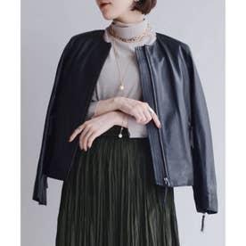 ノーカラーレザージャケット (ブラック)