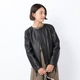 「L」ノーカラーレザージャケット (ブラック)