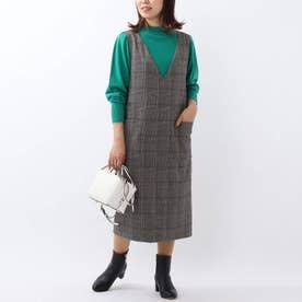 「L」ウール混Iラインジャンパースカート (チャコールグレー)