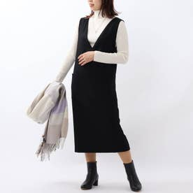 「L」ウール混Iラインジャンパースカート (ブラック)