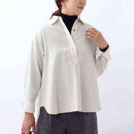 「L」ウールスキッパーネックシャツ (ホワイト)