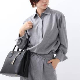 「L」ウールスキッパーネックシャツ (グレー)