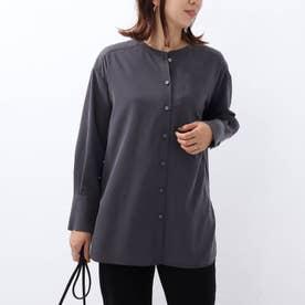 「L」フィブリルツイル マオカラーシャツ (ディープグレー)