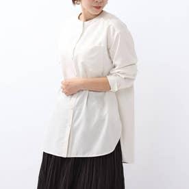 「L」フィブリルツイル マオカラーシャツ (ホワイト)