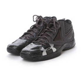 バスケットボールシューズ UAマイクロGニホン プラス #1267986 562 (ブラック×チャコールグレイ×メタリックシルバー)