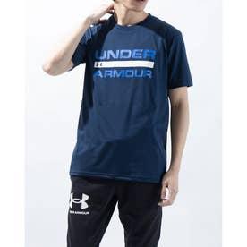 メンズ 半袖機能Tシャツ UA TECH WORD MARK SS 1359134 (ネイビー)