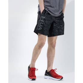 メンズ ウインドハーフパンツ UA Woven Emboss Shorts 1361432 (ブラック)