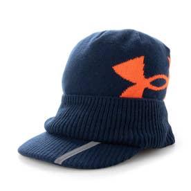 メンズ ゴルフ ニット帽子 UA Brimknit Beanie 1369339 (ネイビー)