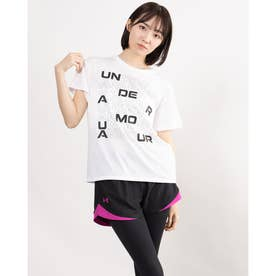 レディース 半袖Tシャツ UA Cotton Box Graphic Tee 1364218 (ホワイト)