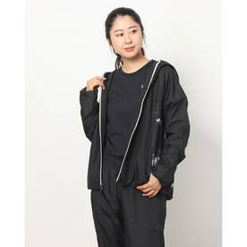 レディース ウインドジャケット UA Tricot Woven Solid FZ 1368906 (ブラック)