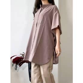 サイドデザインバンドカラーシャツ (モカ)