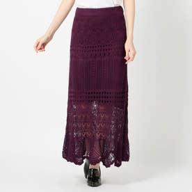 クロシェニットロングスカート (紫系)