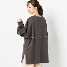 バックロゴプリントロングTシャツ (クロ)