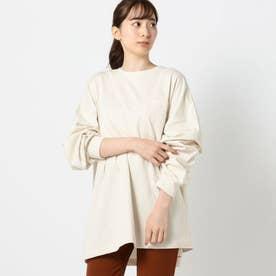 バックロゴプリントロングTシャツ (ピンクベージュ)