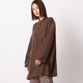 シャイニー透けシャツ (ブラウン)