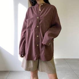 ピーチスタンドカラーシャツ (ブラウン)