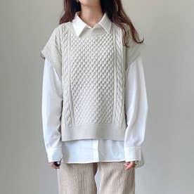 ニットベスト×シャツセット (ライトグレー)