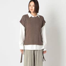 ニットベスト×シャツセット (モカ)