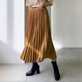 フェイクスエードプリーツスカート (キャメル)