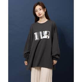 フォトプリントゆるロングTシャツ (クロ)