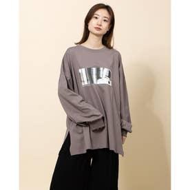 フォトプリントゆるロングTシャツ (グレー系)