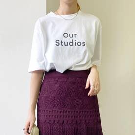 クルーネックロゴプリントTシャツ (シロ)