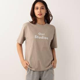 クルーネックロゴプリントTシャツ (ベージュ)