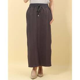 カットケーブルジャガードタイトスカート (チャコール)