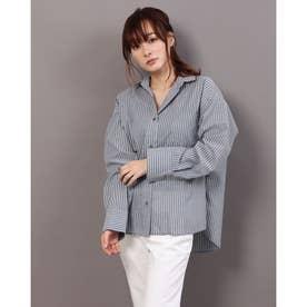 FLATポプリンリボンシャツ (ブラック系)