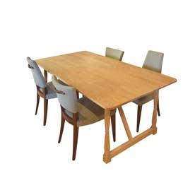 ダイニングテーブル(ろくろ脚) 【返品不可商品】(オーク材・ウレタン塗装艶なし)