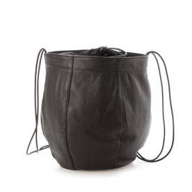 ラセッテー鞣し豚革 巾着ショルダーバッグ (ブラック)