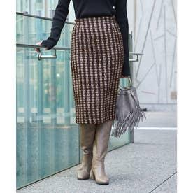 ツイードタイトスカート (ブラウン)