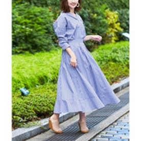 ストライプシャツ×スカートセットアップ (ブルー)
